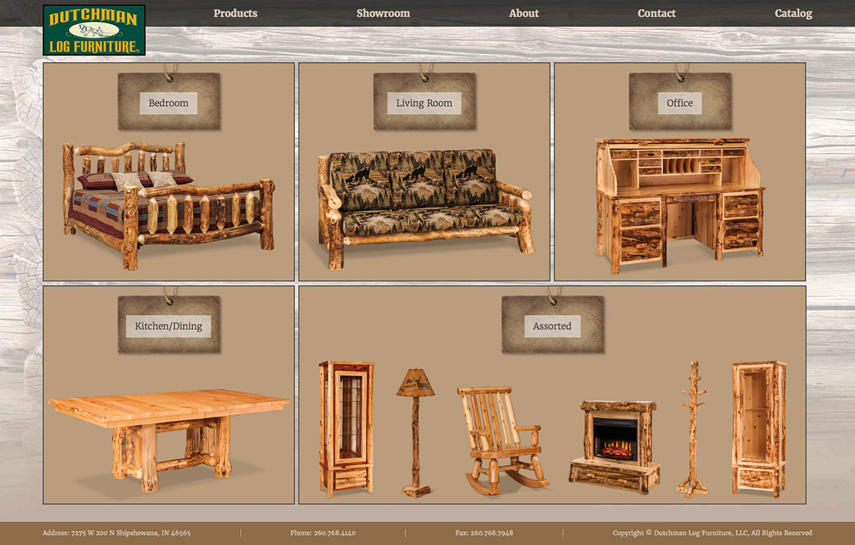 Charming Dutchman Log Furniture Website Design Product Category Page